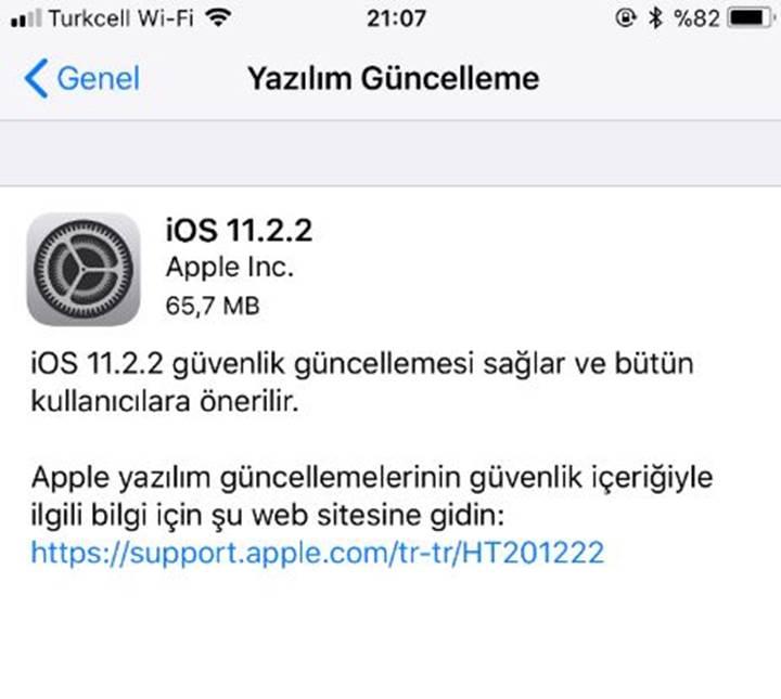 iphone yazılım güncelleme bölümü yok