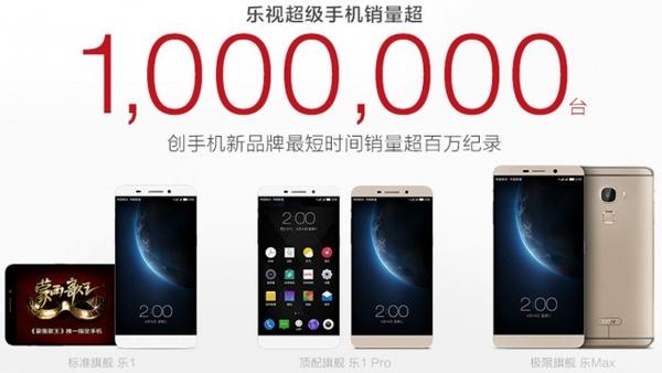 Çinli LeTV bir milyon satış rakamını en hızlı aşan yeni akıllı telefon üreticisi ünvanını aldı