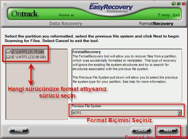 HardDisk Kurtarma - EasyRecovery Pro 6.10 DEMO (Resimli Anlatım) .
