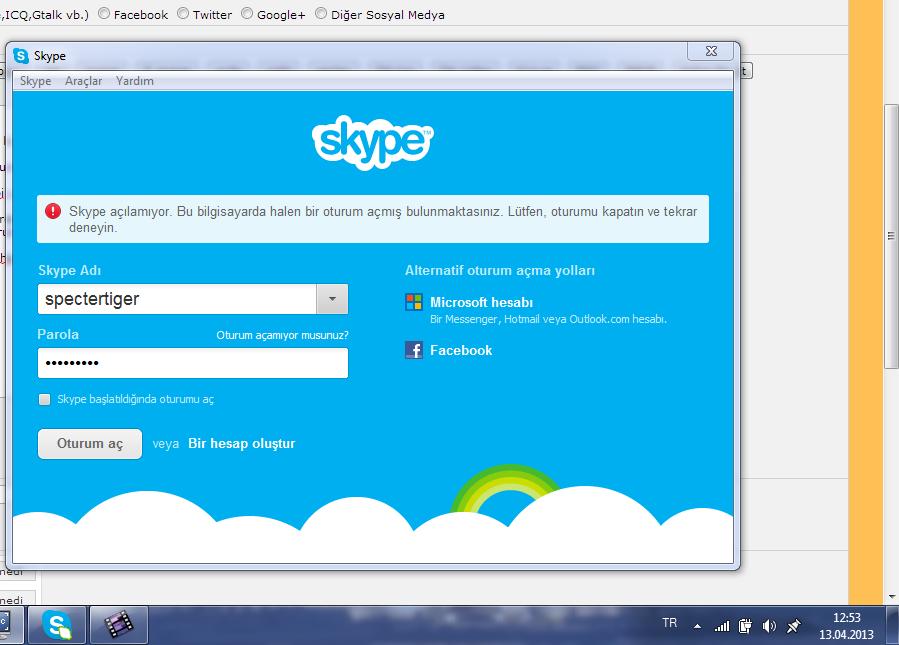 Подскажите кто-нить. Не могу на компе под своим логином войти в скайп. По