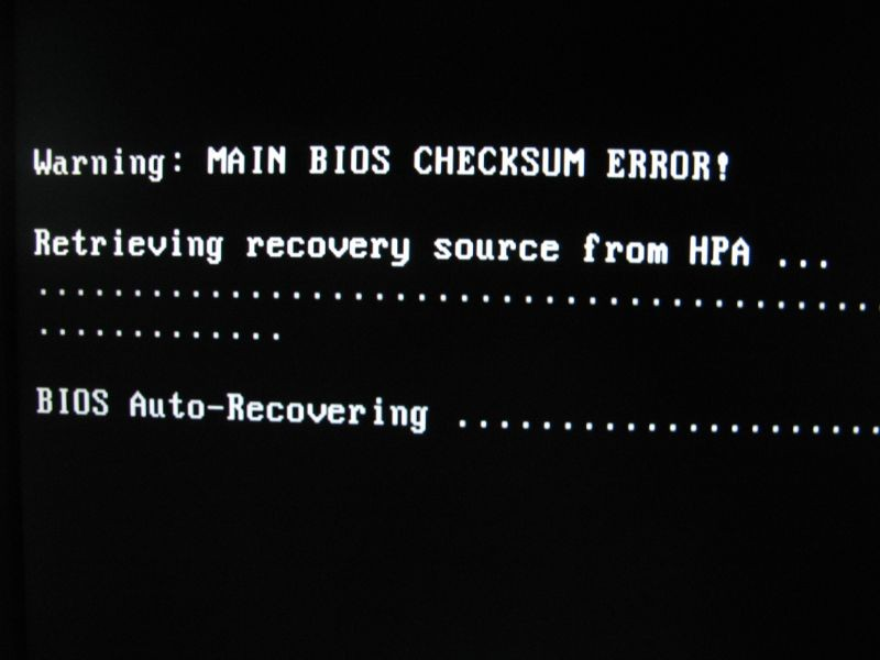 bios checksum error: