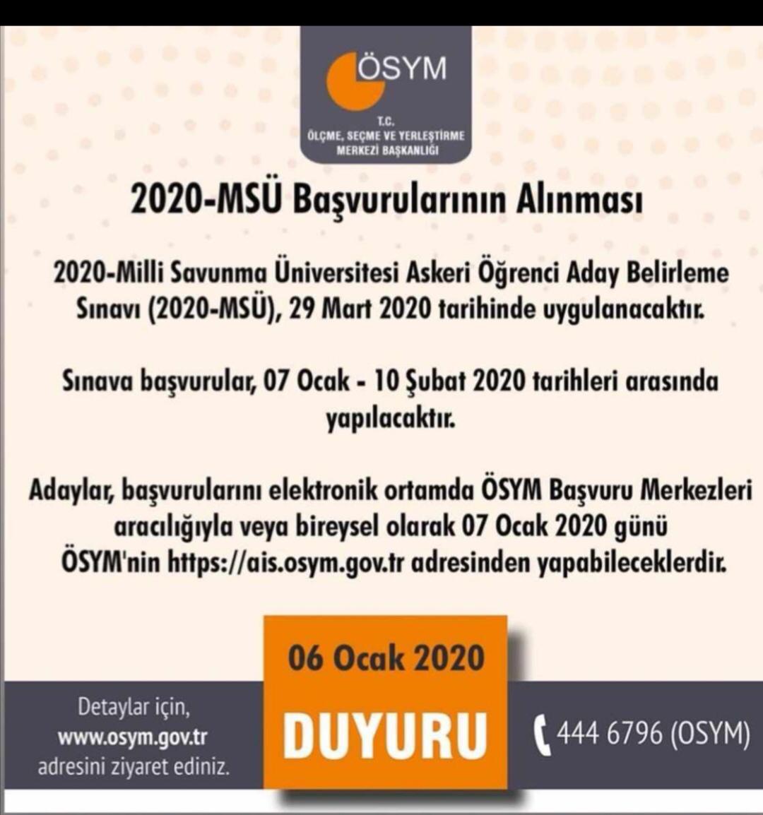 Ösym sınav başvuru merkezleri 2020